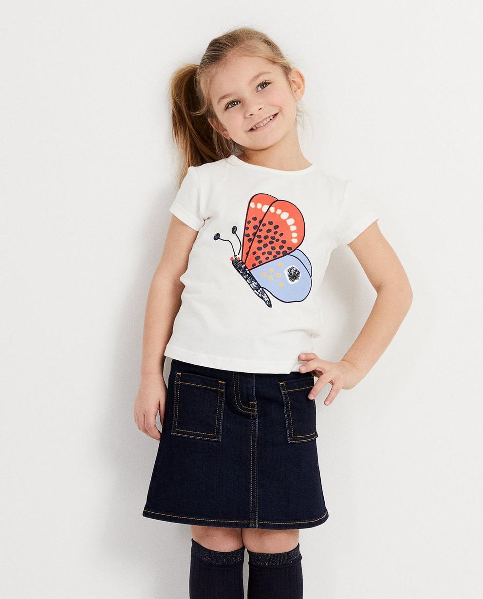 T-Shirts - Weiss - T-Shirt mit Print + Pailletten
